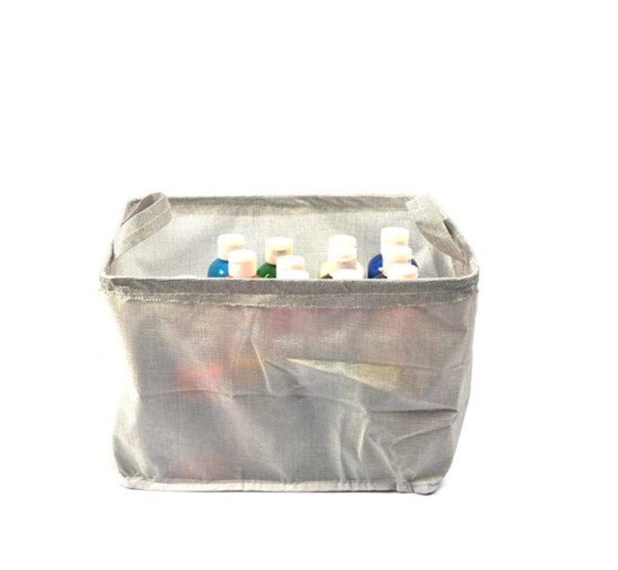1x Storage basket foldable 31x24x20cm polyester - Mid/grey
