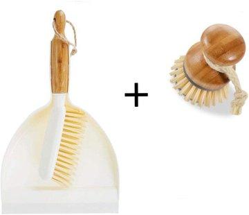 Merkloos Luxe Set Stoffer en Blik Bamboe|veeggarnituur bamboe Duurzaam beige 37x25cm| Afwasborstel - keukenborstel - rond handvat 10xØ7cm 80gr