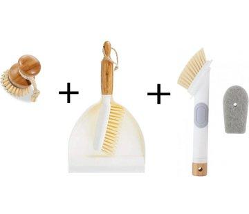 Merkloos Luxe Set Stoffer en Blik Bamboe|veeggarnituur bamboe Duurzaam beige 37x25cm| Afwasborstel - keukenborstel - rond handvat 10xØ7cm 80gr|afwasborstel & zeepdispenser 25 cm wit 2-delig