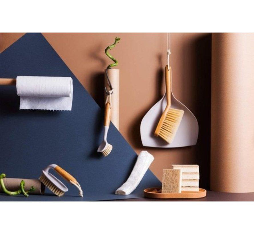 Luxe Stoffer en Blik Bamboe | veeggarnituur bamboe ECO Natural beige 37x25cm