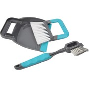 Merkloos dustpan and dustpan 19 x 21.5 cm blue - 2-in-1 tile and grout brush 30 cm grey/blue