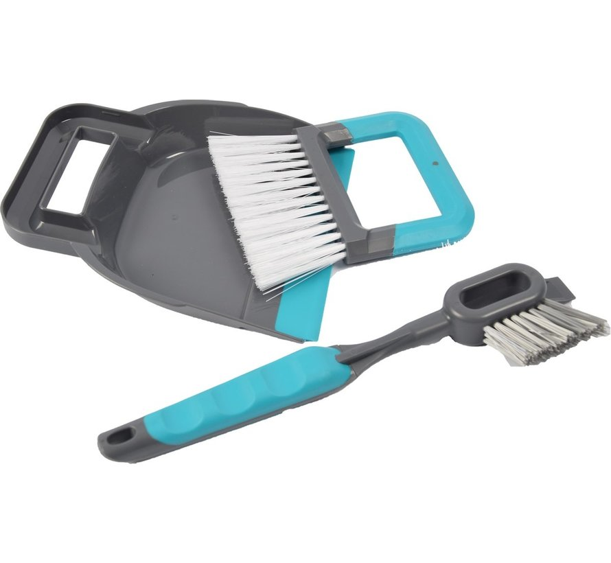 stoffer en blik 19 x 21,5 cm blauw - 2-in-1 tegel- en voegenborstel 30 cm grijs/blauw