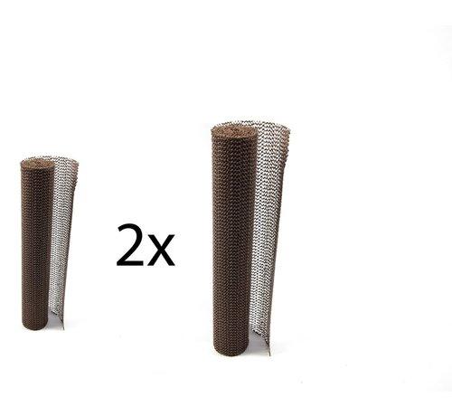 Merkloos 2x Non Slip Gripmat – Bruin – 30x150cm   Niet Klevende Antislipmat Gaas Patroon voor Bureaus en Keukenlades