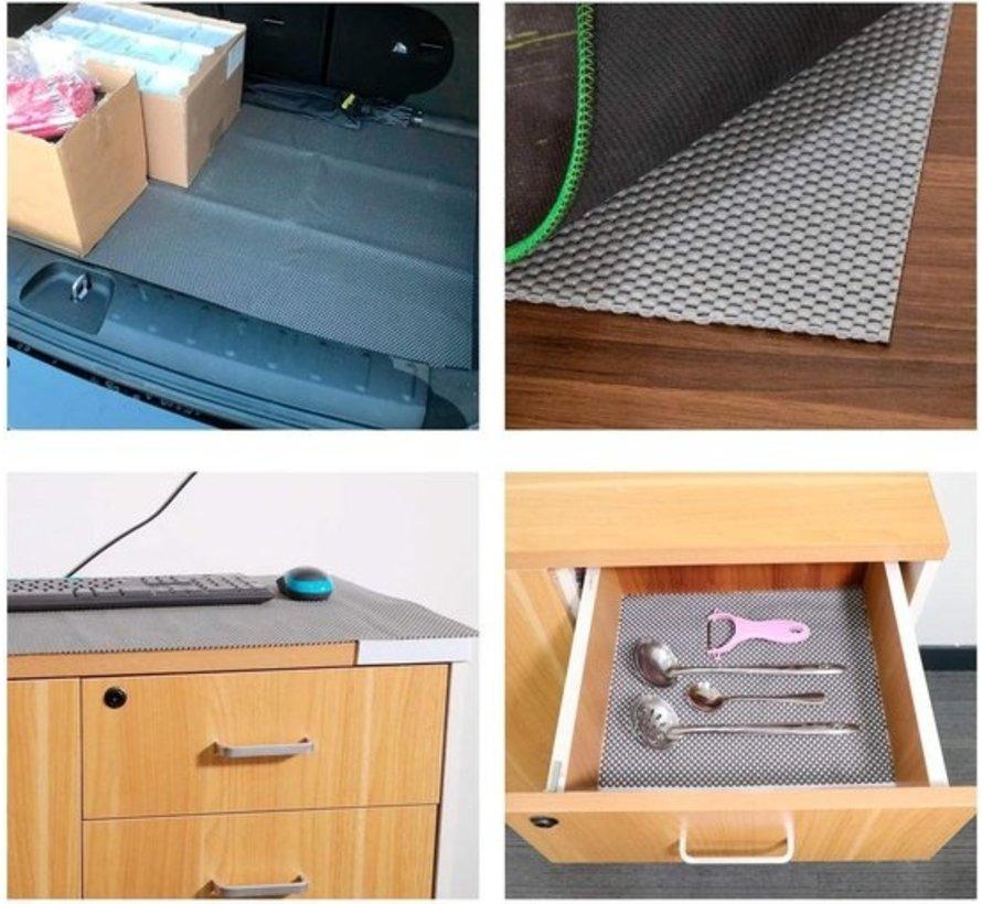 5x Non Slip Grip Mat – Gray – 30x150cm   Non-Stick Non-Slip Mat Mesh Pattern for Desks and Kitchen Drawers
