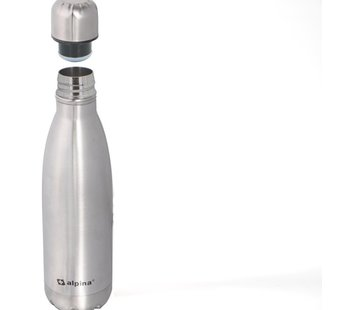 Alpina Alpina Insulating drinking bottle - Thermos bottle - with screw cap - double wall - 450 ml - stainless steel -