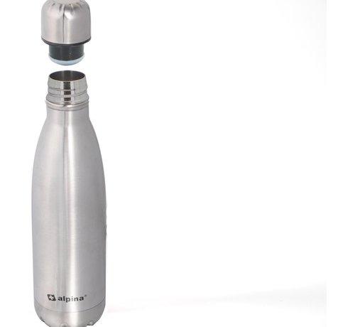 Alpina Alpina Isolerende drinkfles - Thermosfles - met Schroefdop - Dubbelwandig - 450 ml - RVS