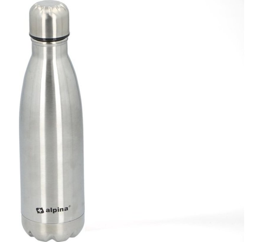 Alpina Insulating drinking bottle - Thermos bottle - with screw cap - double wall - 450 ml - stainless steel -