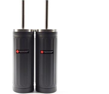 Merkloos Set van 2x Grijs Toiletborstel & Houder - Roestvrijstalen Toiletborstelhouder met Toiletborstel - 45x12cm - Mat grijs