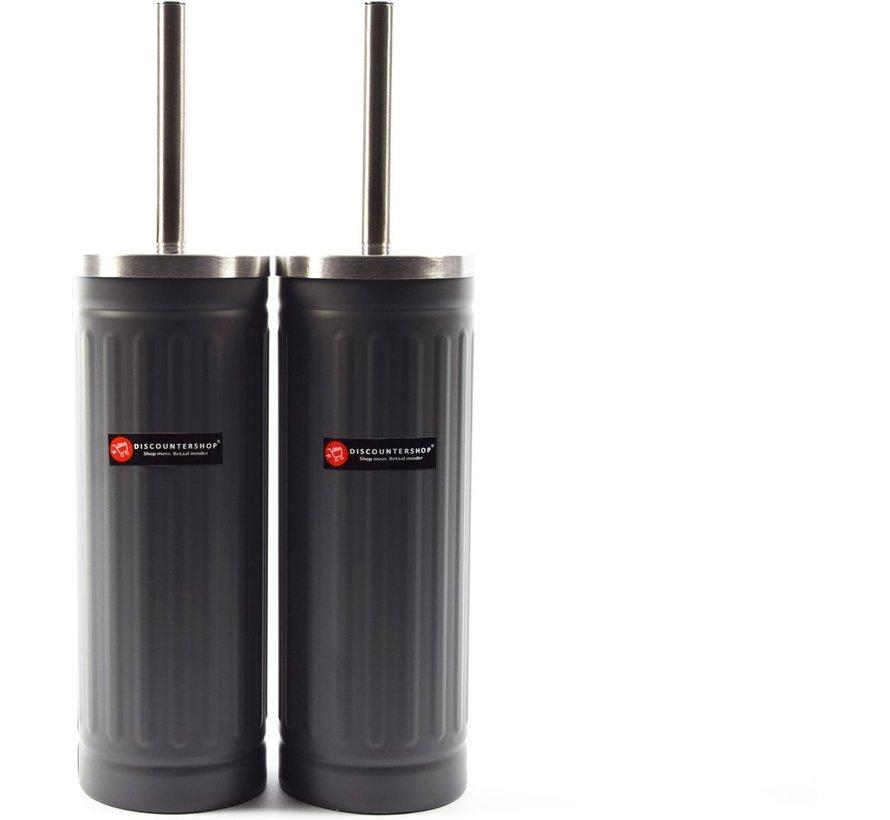 Set van 2x Grijs Toiletborstel & Houder - Roestvrijstalen Toiletborstelhouder met Toiletborstel - 45x12cm - Mat grijs