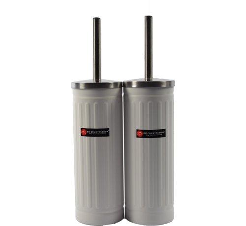 Merkloos Set van 2x Wit Toiletborstel & Houder - Roestvrijstalen Toiletborstelhouder met Toiletborstel - 45x12cm - Mat Wit