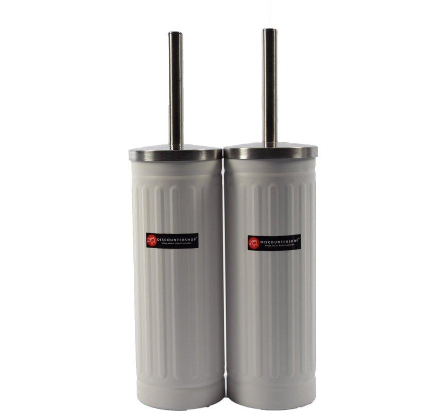 Set van 2x Wit Toiletborstel & Houder - Roestvrijstalen Toiletborstelhouder met Toiletborstel - 45x12cm - Mat Wit