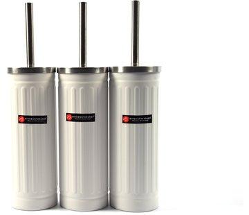 Merkloos Set van 3x Wit Toiletborstel & Houder - Roestvrijstalen Toiletborstelhouder met Toiletborstel - 45x12cm - Mat Wit