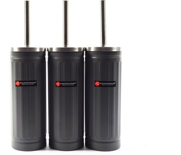 Merkloos Set van 3x grijs Toiletborstel & Houder - Roestvrijstalen Toiletborstelhouder met Toiletborstel - 45x12cm - Mat Grijs