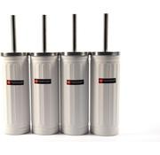 Merkloos Set van 4x Wit Toiletborstel & Houder - Roestvrijstalen Toiletborstelhouder met Toiletborstel - 45x12cm - Mat Wit