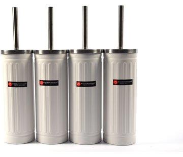 Merkloos Set of 4x White Toilet Brush & Holder - Stainless Steel Toilet Brush Holder with Toilet Brush - 45x12cm - Matt White