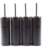 Merkloos Set van 4x grijs Toiletborstel & Houder - Roestvrijstalen Toiletborstelhouder met Toiletborstel - 45x12cm - Mat grijs