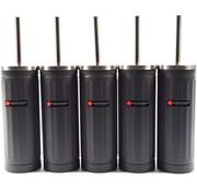 Merkloos Set van 5x Grijs Toiletborstel & Houder - Roestvrijstalen Toiletborstelhouder met Toiletborstel - 45x12cm - Mat grijs