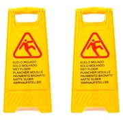 Merkloos 2x |Slippery or wet floor warning sign in 7 languages – 'Caution wet floor' – Two-sided – Cleaning – Safety 59cm x 30cm x 35cm3