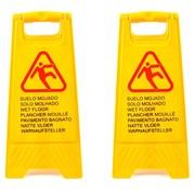Merkloos Waarschuwingsbord gladde of natte vloer in 7 talen 2 stuks – 'Caution wet floor' – Tweezijdig – Schoonmaak – Veiligheid 59cm x 30cm x 35cm3