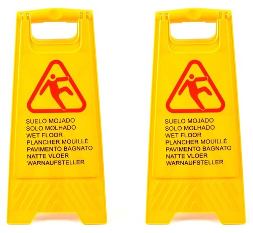 Merkloos 2x  Slippery or wet floor warning sign in 7 languages – 'Caution wet floor' – Two-sided – Cleaning – Safety 59cm x 30cm x 35cm3