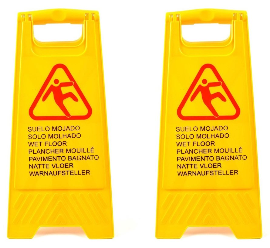 2x  Slippery or wet floor warning sign in 7 languages – 'Caution wet floor' – Two-sided – Cleaning – Safety 59cm x 30cm x 35cm3