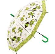 Merkloos Kinderparaplu met kikker print 96 cm paraplu - Disney Kinderparaplu 96 cm automatische paraplu met Transparant en Fluitje inbegrepen