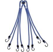 Merkloos snelbinders - spinbinder Blauw 80 cm, 8 armig, 8mm met plastic coat hakenfietsbinder/ snelbinder