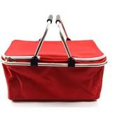 Merkloos Opvouwbare boodschappenmand, met koelfunctie, thermomand met handvat, 25 l, deksel met ritssluiting, koelmand, rood