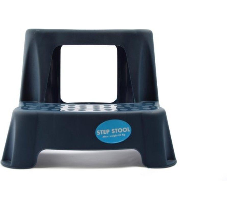 Blauw kinderkrukje/opstapje met 2 treden 35 cm - Keuken/badkamer krukjes/opstapjes voor kinderen