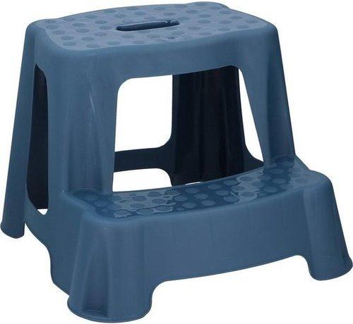 Merkloos Blauw kinderkrukje/opstapje met 2 treden 35 cm - Keuken/badkamer krukjes/opstapjes voor kinderen