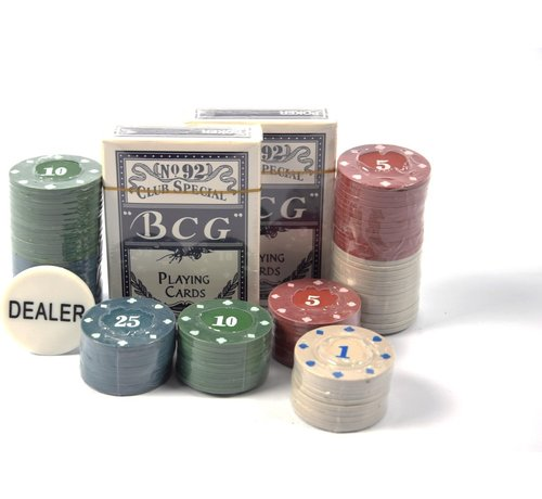 Merkloos Poker set / Pokerkaarten / kaartspel / 2 set kaarten 100 fiches / pokerspel / pokeren  casino  kaartenspel /speelkaarten