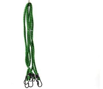Merkloos snelbinders - Spinbinder Groen 80 cm, 8 armig, 8mm met plastic coat hakenfietsbinder/ snelbinder