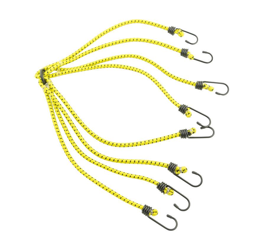 snelbinders - spinbinder Geel 80 cm, 8 armig, 8mm met plastic coat hakenfietsbinder/ snelbinder