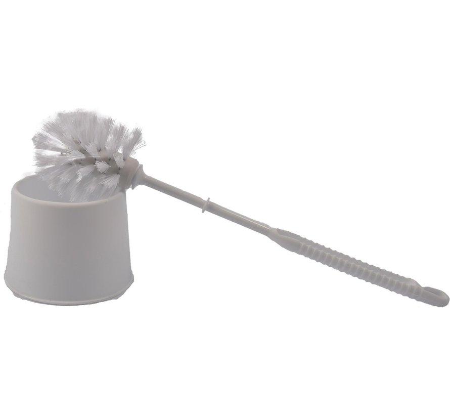 3x Discountershop - Toilet brush - Toilet brush plastic -Toilet brush in holder - Toilet brush holder - Toilet brush - brush - Stainless - WhiteProduct width 10.5x 33x 6 cm