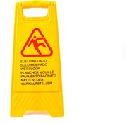 Merkloos Slippery or wet floor warning sign in 7 languages – 'Caution wet floor' – Two-sided – Cleaning – Safety 59cm x 30cm x 35cm3