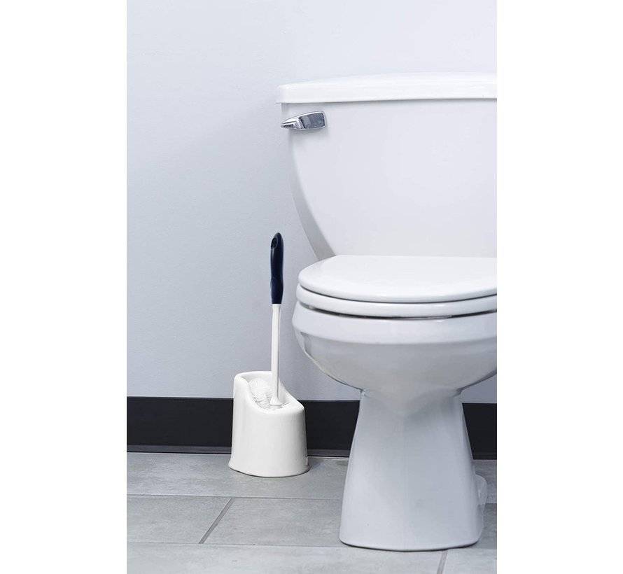 2 X Toilet brush and holder, toilet bowl cleaning system with scouring stick, lip brush under the rim and storage box for bathroom