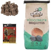BIG JEFF 1x barbecue charcoal- 3kg - coconut briquettes + 28x firelighters Sustainable - high quality - coconut husks -