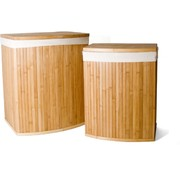 Merkloos 2-Piece Laundry Baskets with Lid | Laundry basket Sustainable | laundry bag cotton | Laundry basket bamboo | 64L / 33L