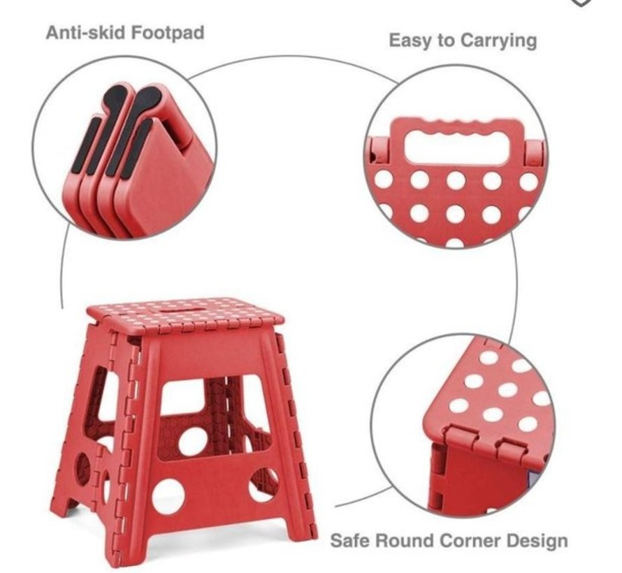 Step stool - step stool - Bathroom stool - Black - Stool - Bathroom stool - Stool - Stairs - Small stairs - Design - Plastic - Discountershop Stool super handy - Stool - Kitchen stairs - Kitchen steps - Foldable - Blue 39 cm - up to 150 kg