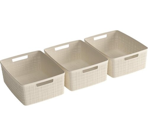 Merkloos Jute Basket - S - 24X18,5X10CM - 3 pieces - Offwhite - 100% Recycled