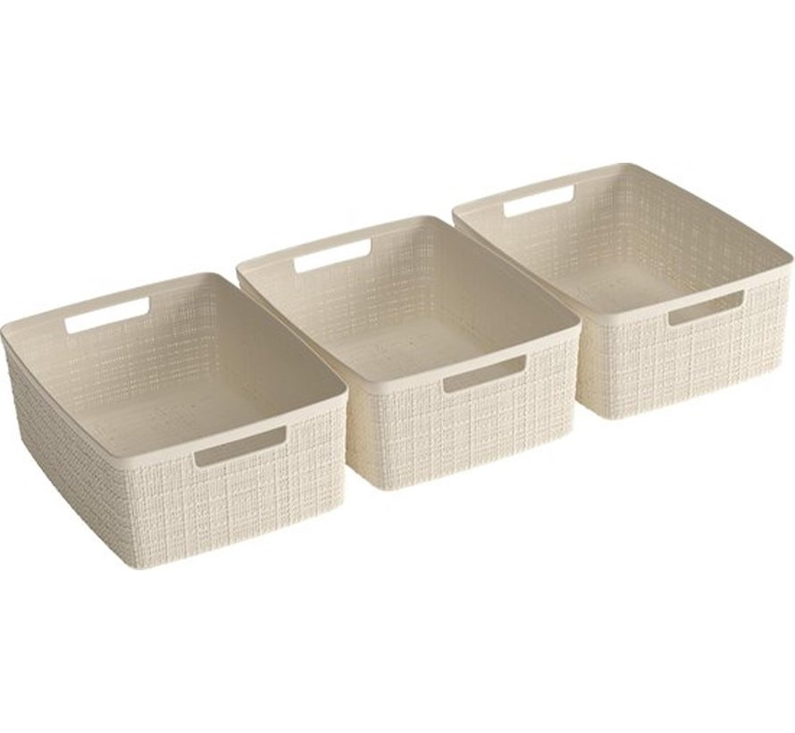 Jute Basket - S - 24X18,5X10CM - 3 pieces - Offwhite - 100% Recycled