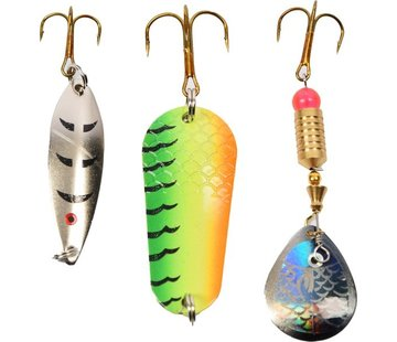 Merkloos Lures for bass and other types of fish - 5 to 12 grams - Perch - Set of spoons and spinner