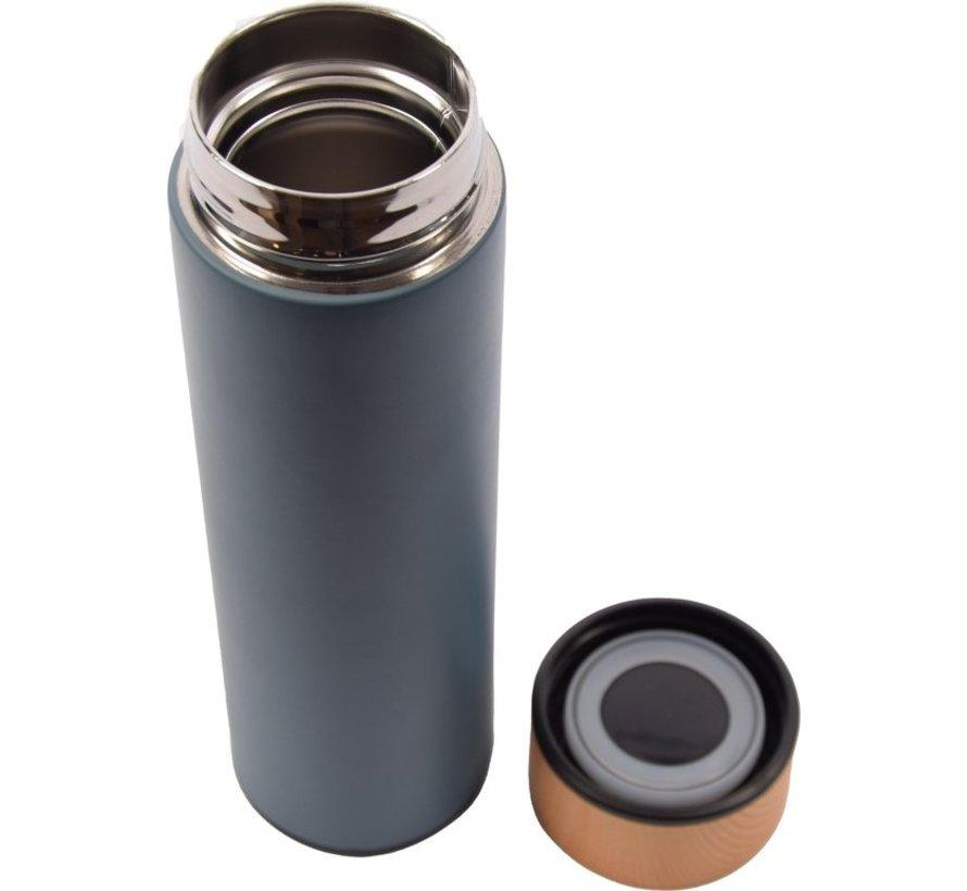 Discountershop®  Thermos Isoleerfles -Blauw - 450ml -Compact Isoleerfles 6.5 x 6.5 x 22.4 cm