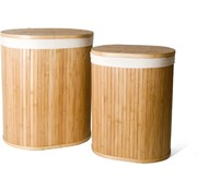 Merkloos 2-Piece Laundry Baskets with Lid | Laundry basket Sustainable | laundry bag cotton | Laundry basket bamboo 50 liters