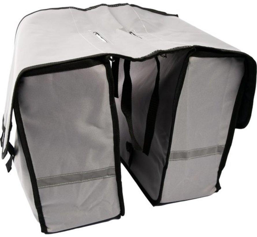 Dubbele Fietstas waterdicht met reflecterende strepen voor extra veiligheid - Fietstas- Grijs - 2x 18 Liter