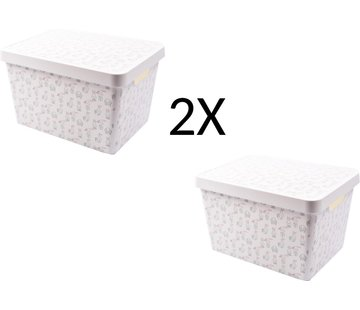 Merkloos 2x Opbergdoos 36 cm x 26 cm x 22 cm- 2 stuks 17 L + 17 L met deksel - Opbergdoos