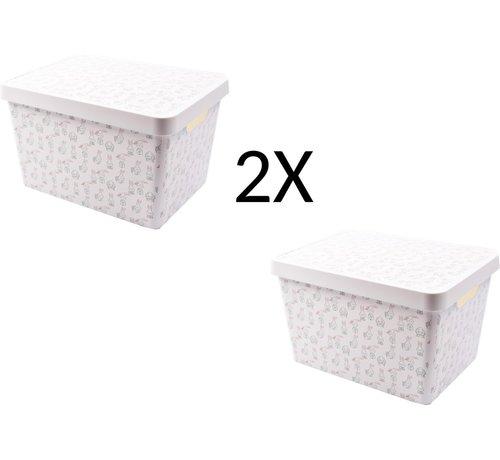 Merkloos 2x Storage box 36 cm x 26 cm x 22 cm - 2 pieces 17 L + 17 L with lid - Storage box