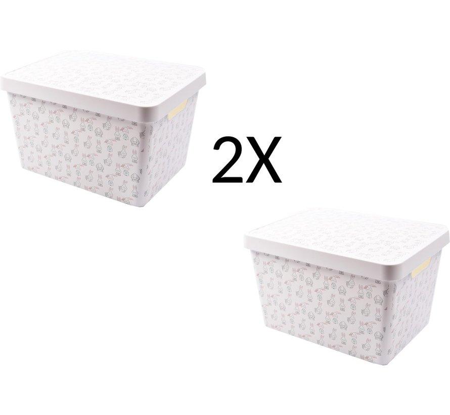 2x Storage box 36 cm x 26 cm x 22 cm - 2 pieces 17 L + 17 L with lid - Storage box