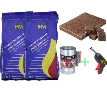 THM Luxe BBQ Voordeel set | Houtskoolbrander - bbq - Barbecue - Gun - Starter -aanmaakblokjes 28 stuks