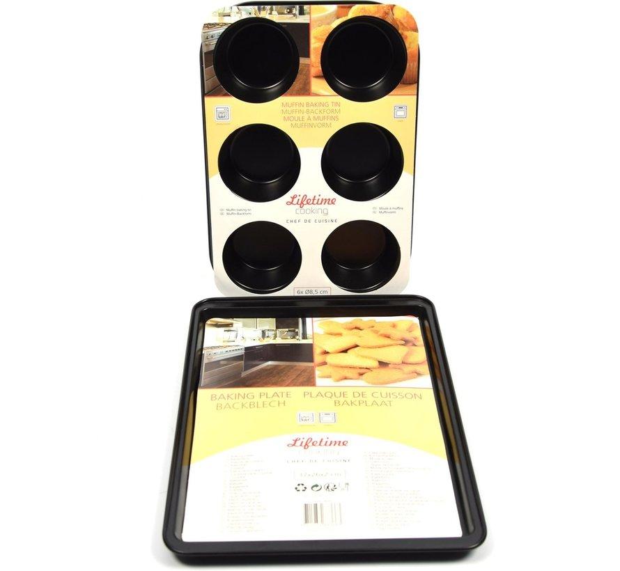 Platte bakvorm / bakplaat rechthoekig, 37cmx26x2cm   Bakvorm Muffin 6 muffins 6x ø8,5cm